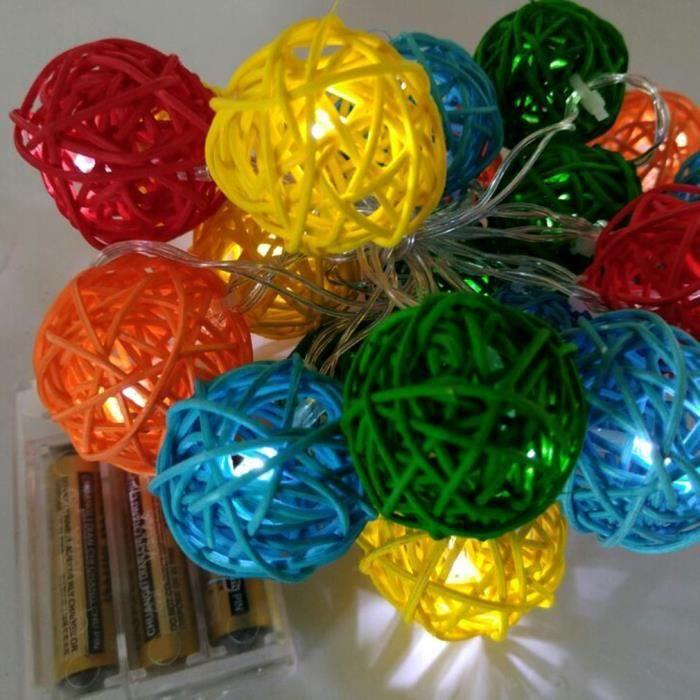 【Stock en Europe】20 Batterie LED chaîne Sepak rotin Boule de Noël lampe lumières d'extérieur