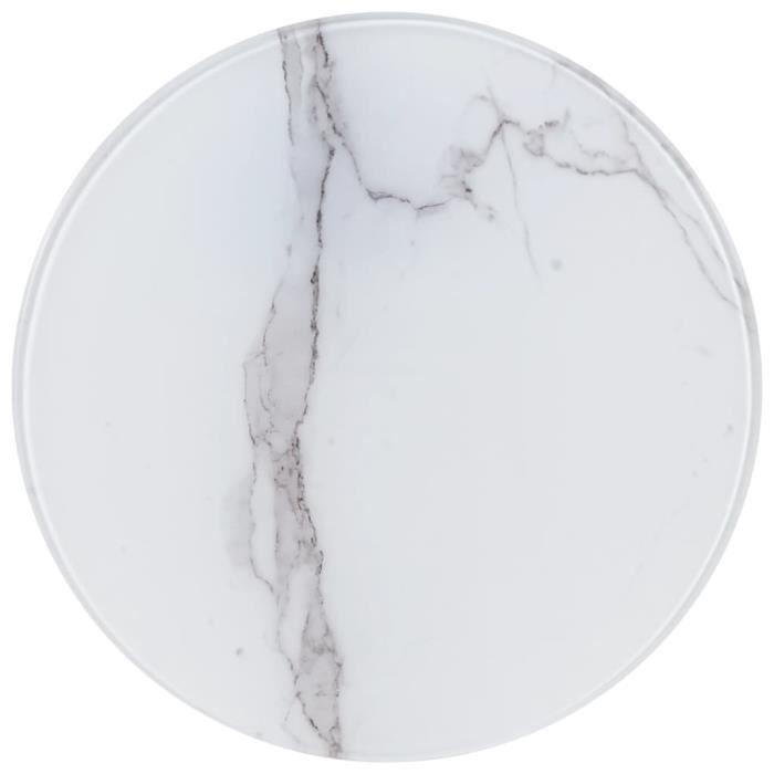 Luxueux Magnifique-Dessus de table Plateaux Blanc ?40 cm Verre avec texture de marbre