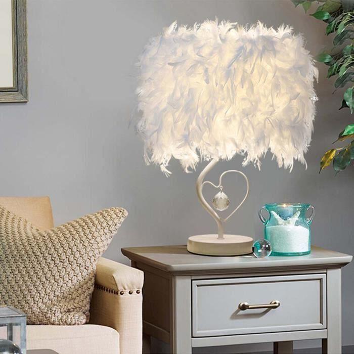Lampe de table en forme de coeur Lampe de chevet en plume pour chambre à coucher Foyer Living Reading Salon Chambre Chambre