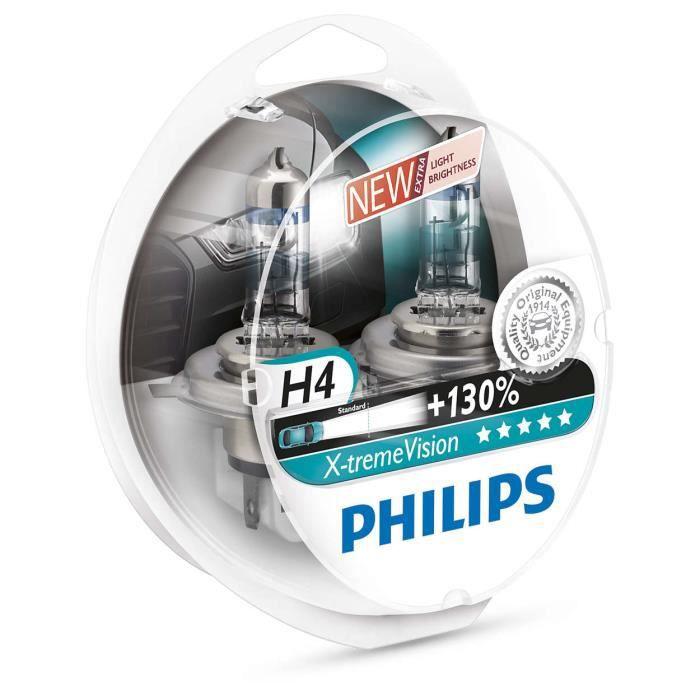 2 LAMPES PHILIPS H4 X-TREME VISION +130% 12V 60-55W
