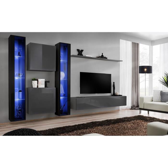 Ensemble meuble salon mural SWITCH XVI design, coloris gris et noir brillant. 40 Gris