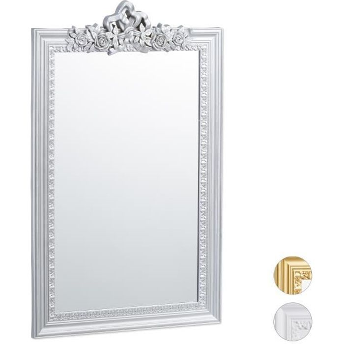 Relaxdays Miroir baroque, Miroir rectangulaire à accrocher, design antique, couloir, salle de bain, argenté - 4052025938338