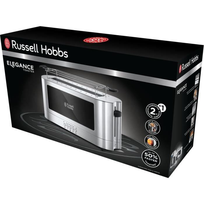 Russell Hobbs 23380-56 Toaster Grille Pain 1 Fente Spécial Baguette Elegance - Acier Chromé
