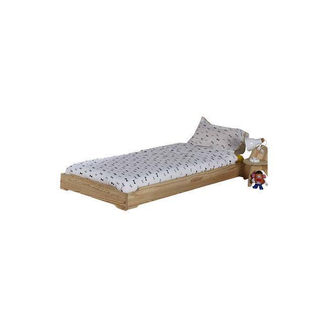 Pack lit enfant empilable avec sommier et matelas Berry  Brut à peindre 90x190 cm