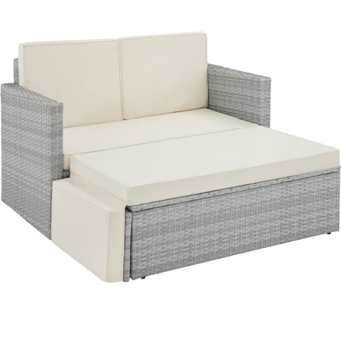 Canapé de jardin CORFOU modulable - gris clair