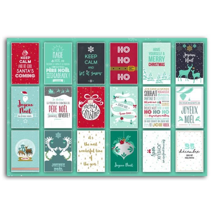 TOGA Bloc de 10 Cartes Postales - Motif Joyeux Noëlde Noël - 18 designs différents