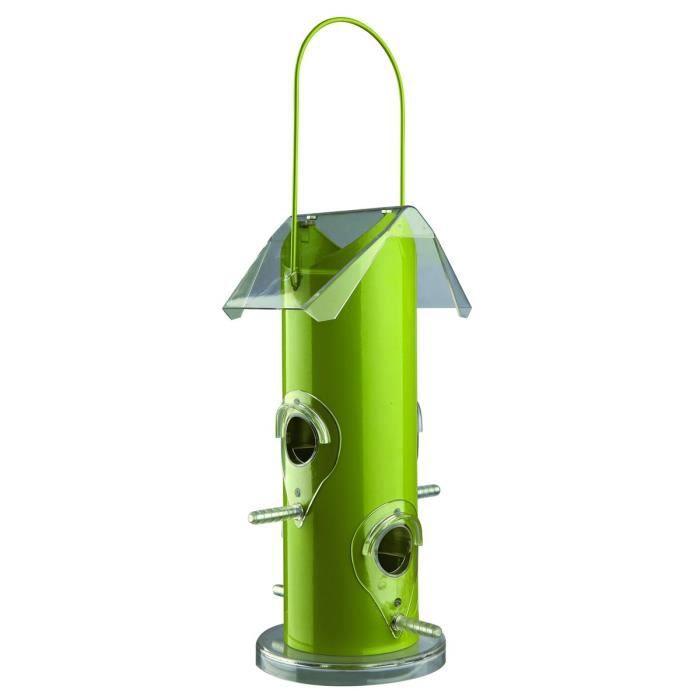 Distributeur de nourriture pour oiseaux 14 × 25 × 14 cm vert