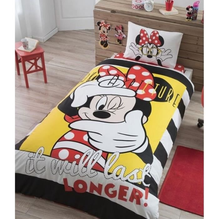 parure de lit disney minnie mouse selfie 1 personne 100 coton 3 pcs housse de couette. Black Bedroom Furniture Sets. Home Design Ideas