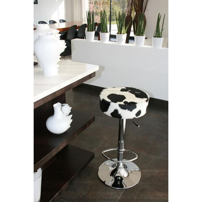 tabouret en peau de vache noire et blanche achat vente tabouret mati re du rev tement cuir. Black Bedroom Furniture Sets. Home Design Ideas