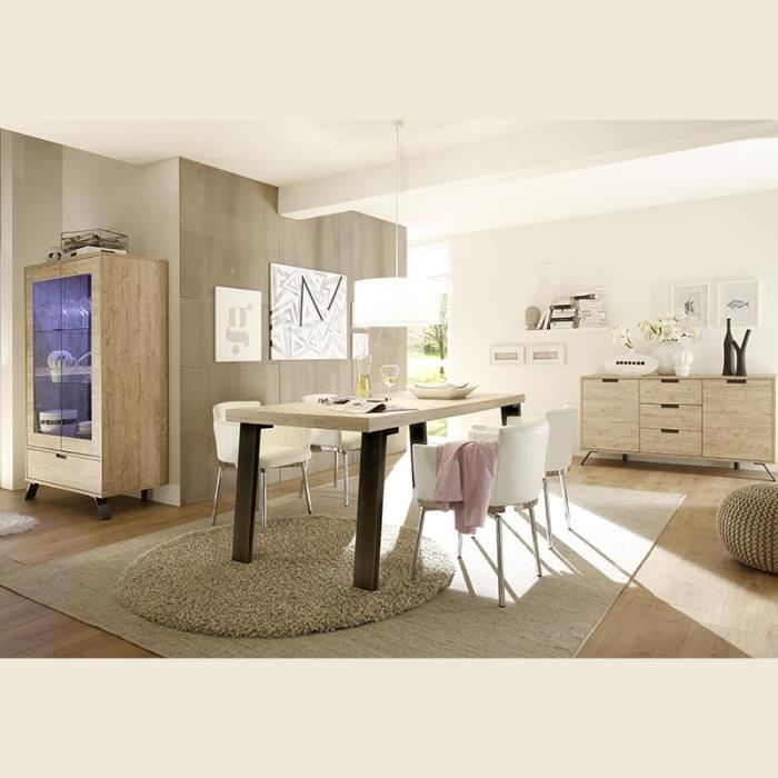 Salle à manger complète moderne couleur bois clair JACE 170 cm