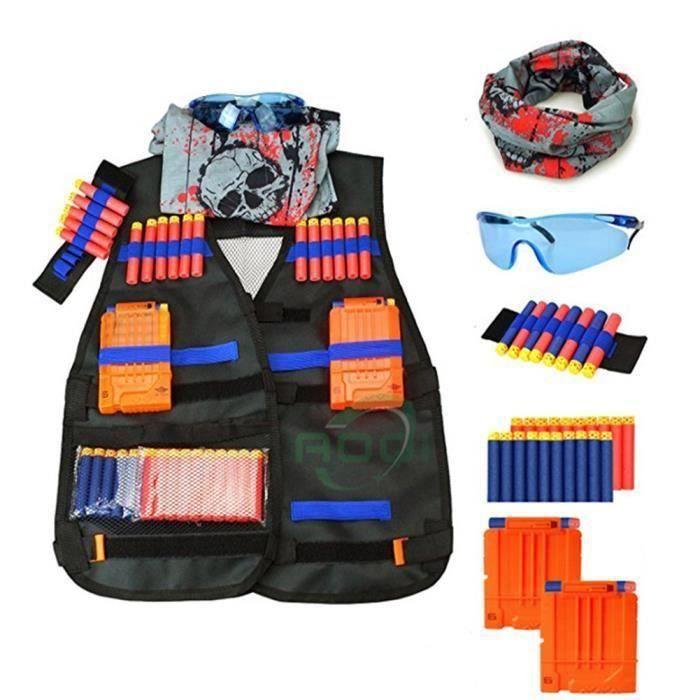 8 /à 14 Ans Gilet Tactique Molle Enfant Veste Camouflage de Combat Gilet de Protection Entra/înement Elite Nerf Jeux CS Multipoches