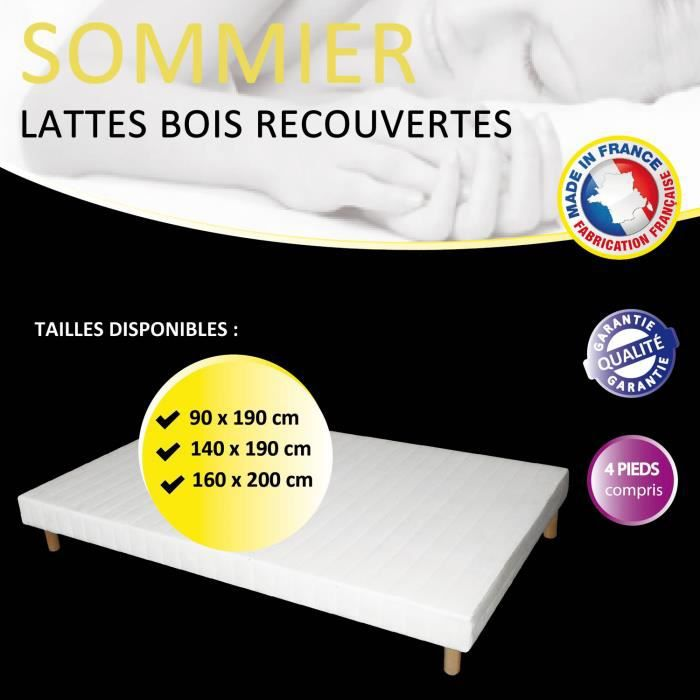 sommier lattes tapissier 90x190 achat vente sommier cdiscount. Black Bedroom Furniture Sets. Home Design Ideas