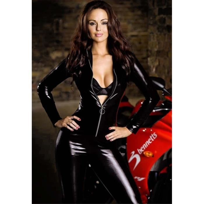 PVC Body Catsuit avec bandes jambes CLUBWEAR wet look taille M
