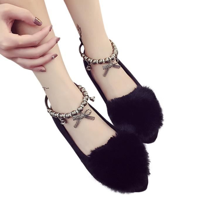 Femmes Mesdames Slip On Sliders Fluffy Faux Fourrure Flat Slipper Flip Flop Chaussures simples Noir rJZqnIso