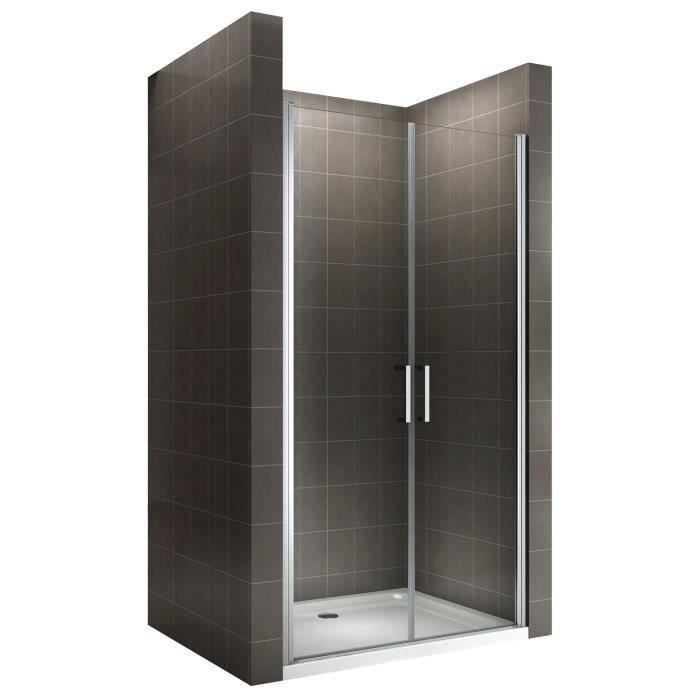Easy Kit Porte de douche pliante en PVC pour niche hauteur 185 cm blanc largeur 100 cm ouverture laterale