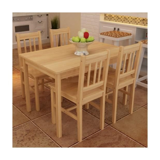 superbe table manger avec 4 chaises en bois naturel achat vente table manger compl te. Black Bedroom Furniture Sets. Home Design Ideas