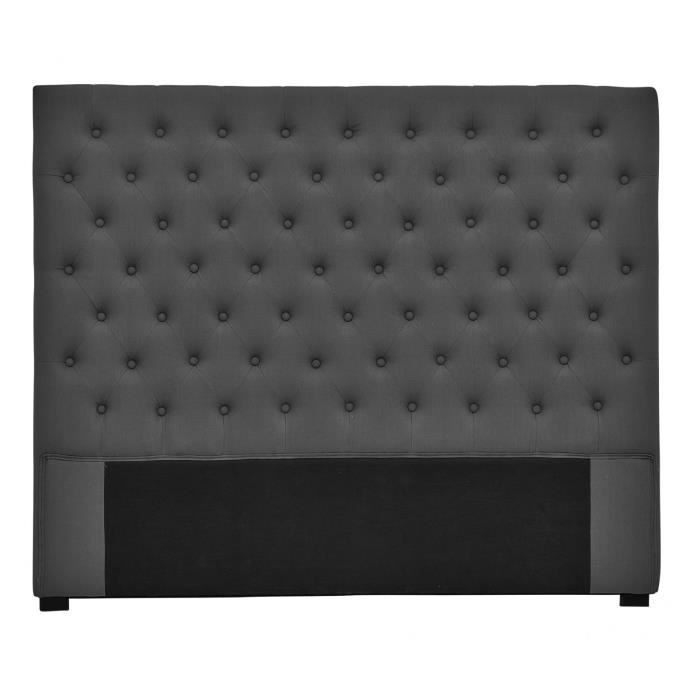 t te de lit capitonn e volupto lin anthracite 160x120cm. Black Bedroom Furniture Sets. Home Design Ideas