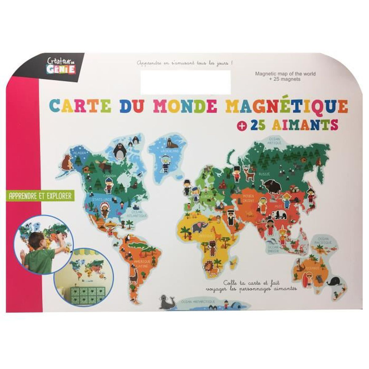CARTE DU MONDE MAGNETIQUE 25 AIMANTS PERSONNAGES ANIMAUX A PLACER