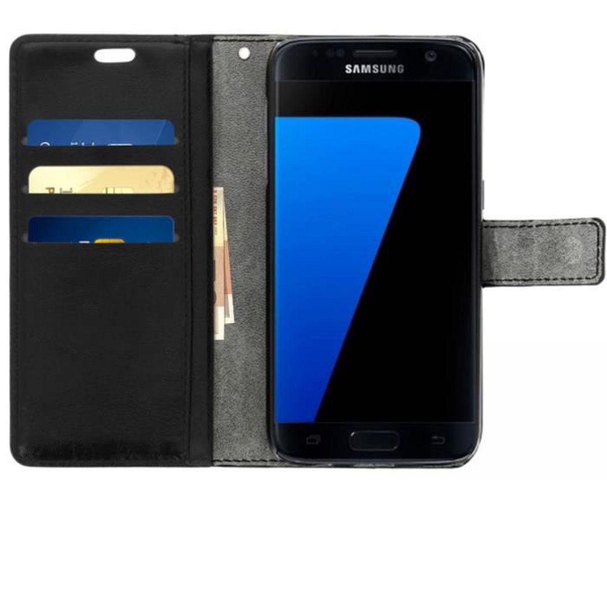Ancase Portefeuille Coque pour Samsung Galaxy S7 Motif /à Rabat en Cuir Porte Carte Flip Case Cover Housse Etui pour Fille Femme Plume de Marbre