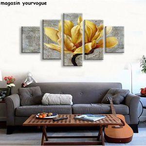 TABLEAU - TOILE sans cadre 5 panneaux jaune et gris fleur Wall Art