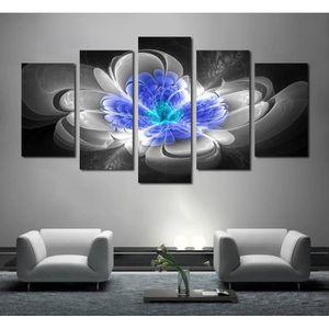 TABLEAU - TOILE Sans cadre 5 panneaux abstrait bleu et gris fleur