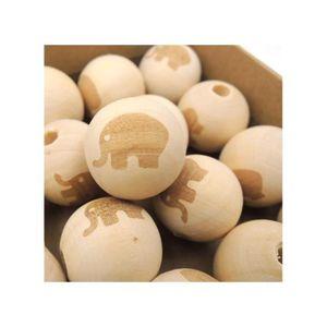 Perles Perles 20 mm en bois éléphant gravé