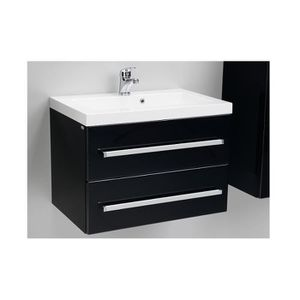 meuble bas et vasque 60 cm noir laque 2 tiroirs achat. Black Bedroom Furniture Sets. Home Design Ideas