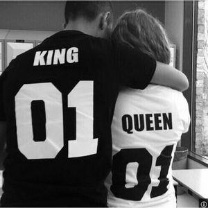 T-SHIRT 2016 King01 Queen01 coton courte à manches amoureu