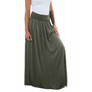JUPE Casual Femmes solides Vintage taille haute froncée