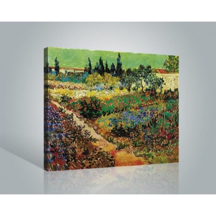 vincent van gogh poster reproduction sur toile tendue sur ch ssis jardin en fleurs avec. Black Bedroom Furniture Sets. Home Design Ideas