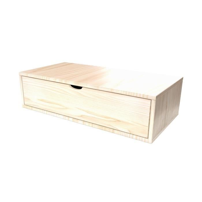 Cube de rangement longueur 100 cm + tiroir - Couleur - Vernis Naturel