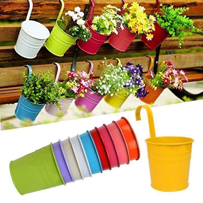 10Pcs Pot de fleur à Suspendre, Pots de Jardin Exterieur à Accrocher Colorés Décoration Maison Balcon Cadeau Fête - Crochet amovible