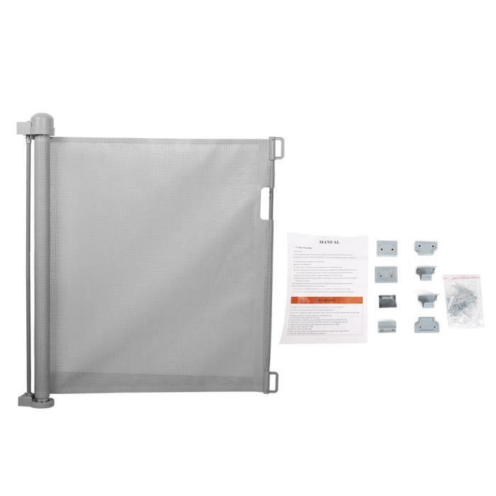 Akozon Porte de bébé Barrière de Bébé Rétractable Automatique Porte d'Escalier de Sécurité pour Bébé/Chien/Escalier(Gris )