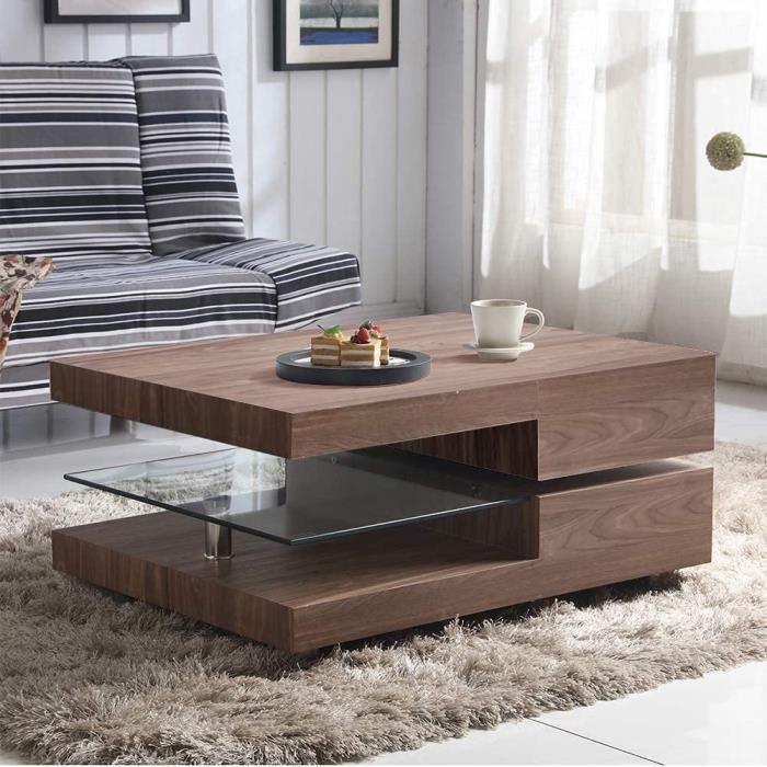 Table Basse en Bois Rectangulaire Design Moderne Table de Salon en Verre Petite Table Basse Rotative pour Salon Chambre Bureau,[167]