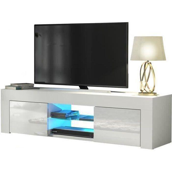 Meuble TV / Banc TV - 130 cm - blanc brillant -style moderne - tablette en verre