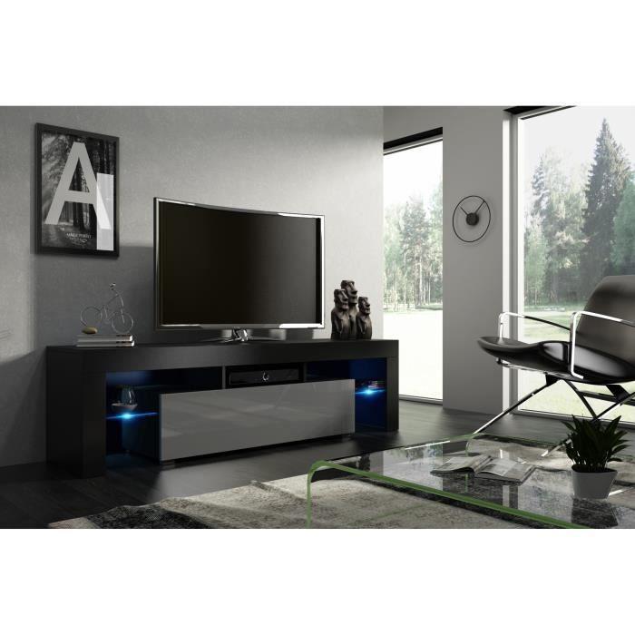 Meuble tv noir mat et façade laquée gris avec led RGB