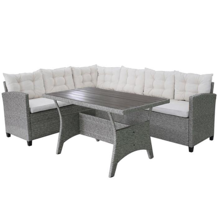 Ensembles de meubles d'exterieur Ensemble de canapes d'angle pour jardin 12 pcs Rotin poly Gris