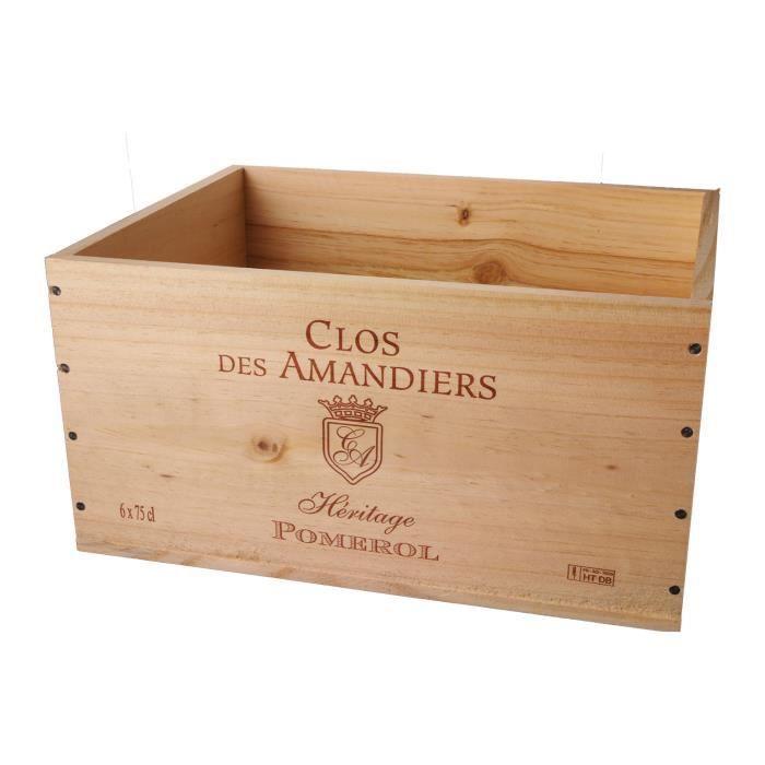La Caisse Bois 6x75cl estampillé Clos des Amandiers - coffret