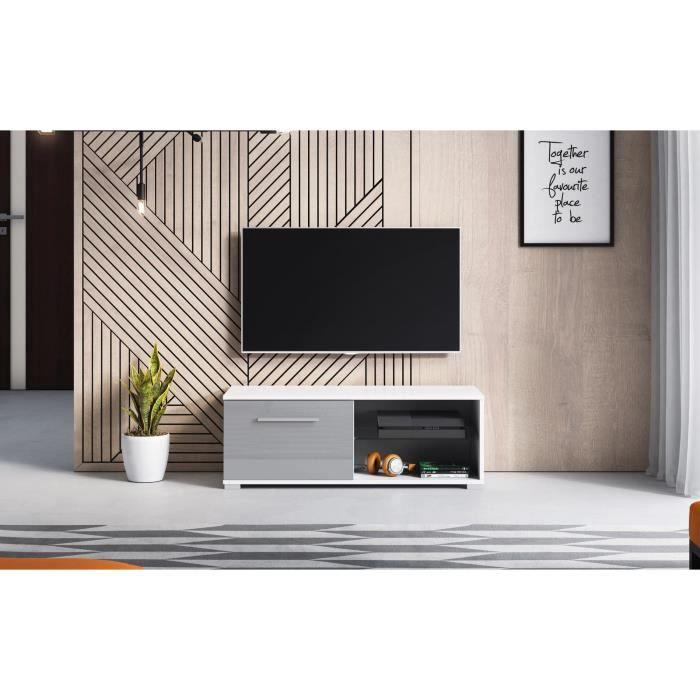 Décoro Meuble TV design MAGNUM (100 cm) couleur blanc et gris laqué.