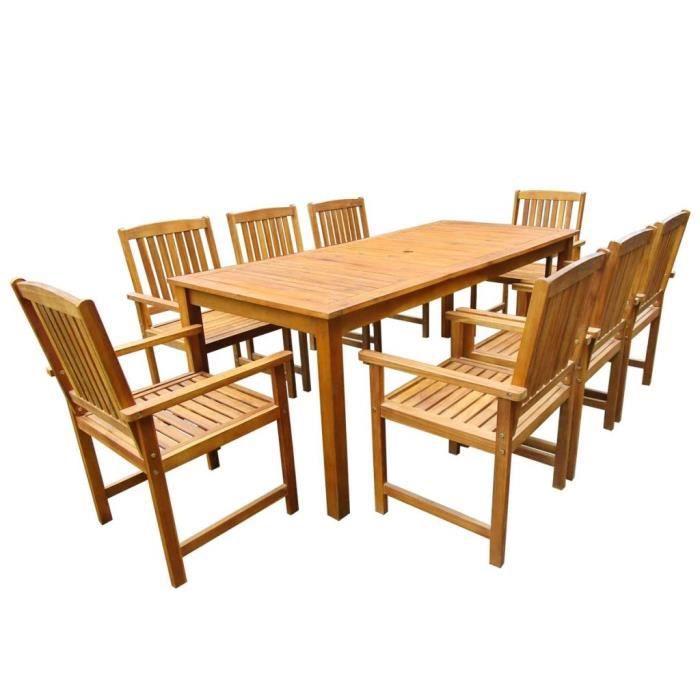 Mobilier de jardin 9 pcs Bois d'acacia massif Marron - 1 table 200 x 90 x 74 cm et 8 chaises 57 x 60 x 92 cm