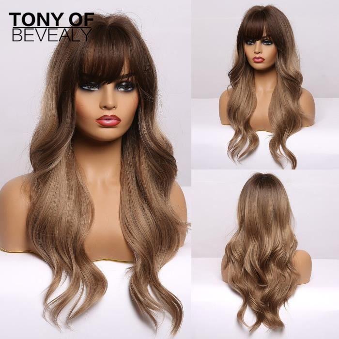 lc226-4 -Perruque synthétique longue brune à reflets dorés pour femmes, perruque naturelle ondulée avec frange, cheveux de Cosplay