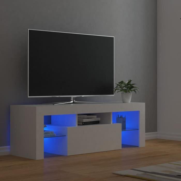 3990BEL® Meuble TV Vintage Design-Armoire TV avec lumières LED,Banc TV,Table Salon Blanc 120x35x40 cm