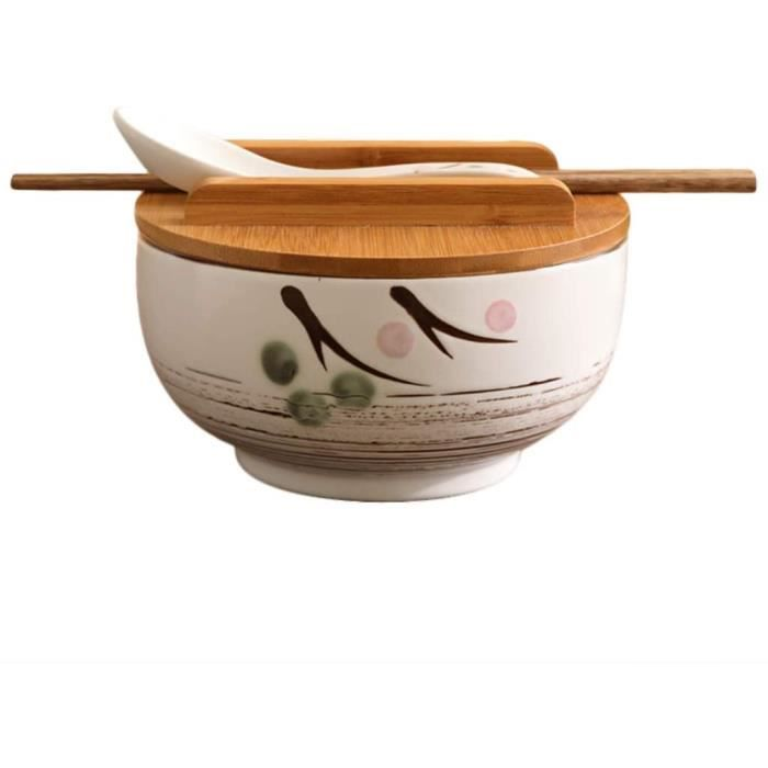 Ustensiles de cuisine japonaise vintage coréen bol de nouilles de riz de style japonais en céramique noire instantanée Baguettes ave