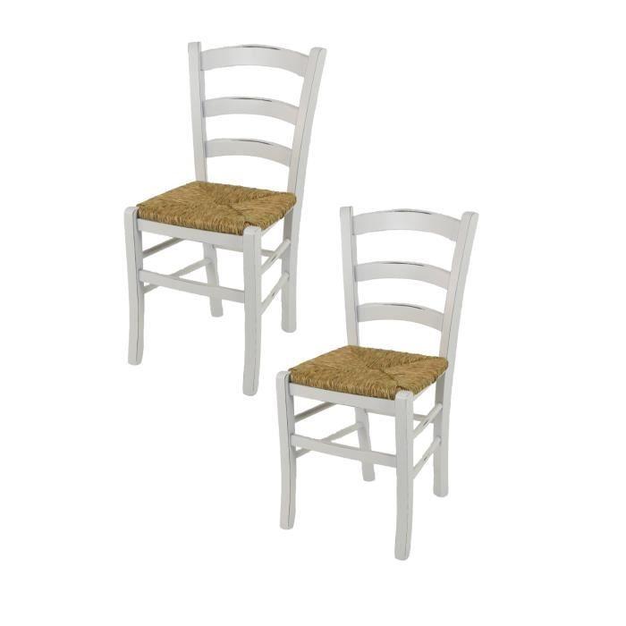 Tommychairs - Set 2 chaises cuisine VENEZIA style Shabby Chic, structure en bois de hêtre vieilli à la main et assise en paille
