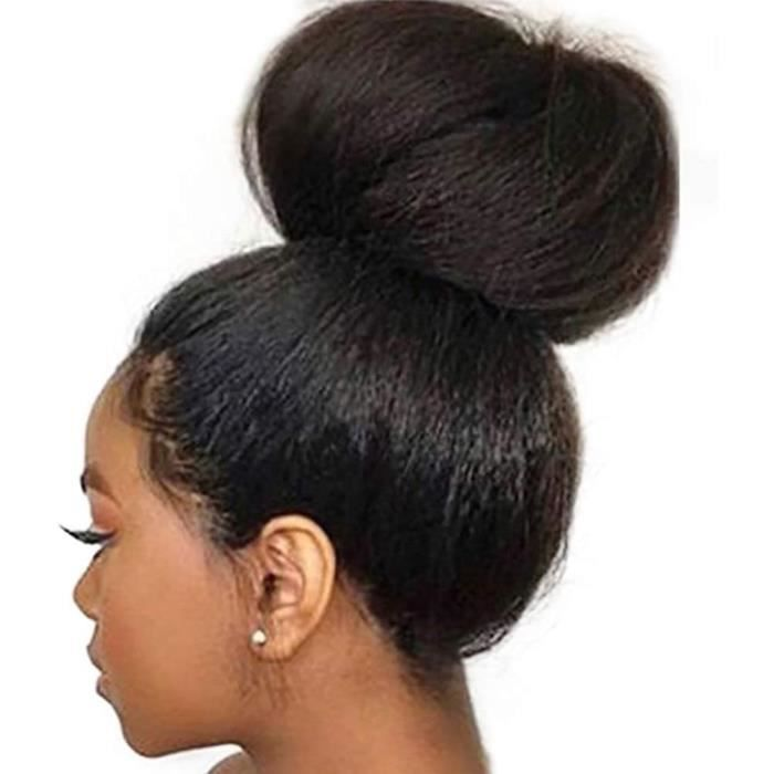 PERRUQUE BT-WIGIG Br&eacutesiliens Perruque Kinky Straight Brazilian Hair Wig Glueless Yaki 100% Virgin Human Hair Lace Frontal 20