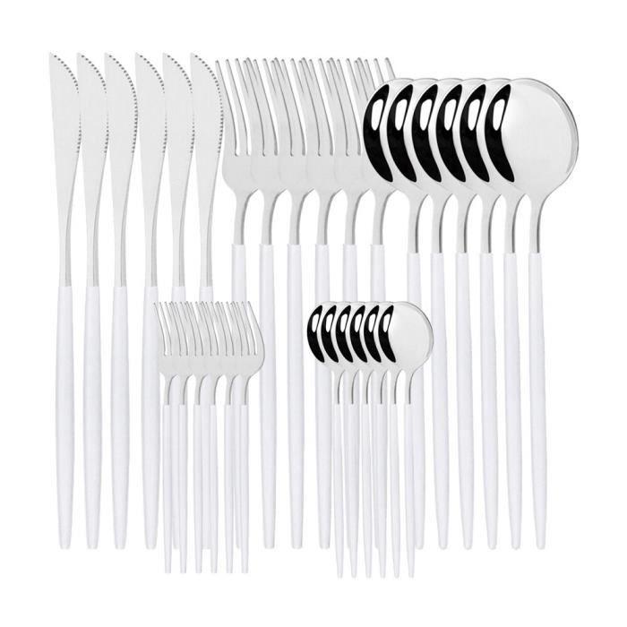 Services de table,Couverts en acier inoxydable,rouge et or,couteaux dorés,fourchettes,cuillères,service - Type 30Pcs White Silver