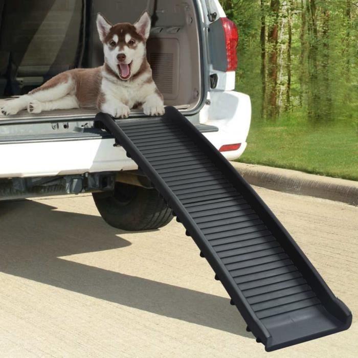 Rampe de voiture pliable pour chiens Noir 155,5x40x15,5 cm HB000