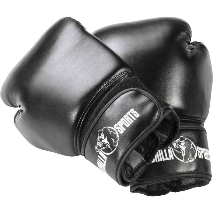 Gants de boxe professionnels Gorilla Sports coloris noir 10 Oz – 16 Oz - 12 Oz Noir