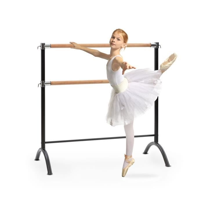 Klarfit Barre Anna Double Barre de danse classique - entraînement ballet 110 x 113 cm -hauteur réglable - pose libre - acier