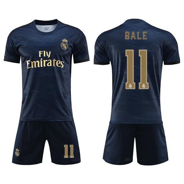 Real Madrid Maillot Extérieur 2019-20 Homme Enfant Maillot de Foot Short Footbal Soccer No.11 Gareth Bale Nouveau Survêtement Pas